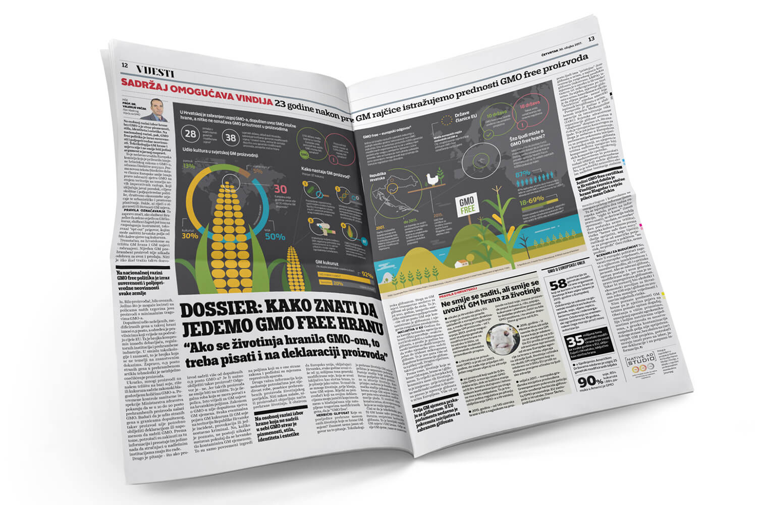 Dossier gmo free boris benko recently received a gmo free certificate for some of its products the project consisted of a large two page infographic published in newspaper print xflitez Image collections
